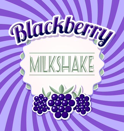 violet background: Blackberry milkshake label in retro style on twisted violet background
