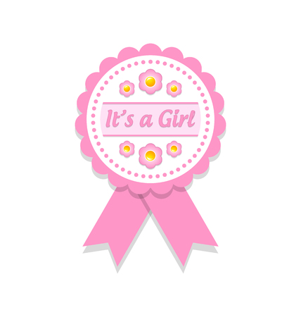 it's: Its a girl rosette or badge on white background Illustration