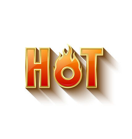 calor: Letras caliente de oro brillante con efecto de sombra larga en el fondo blanco