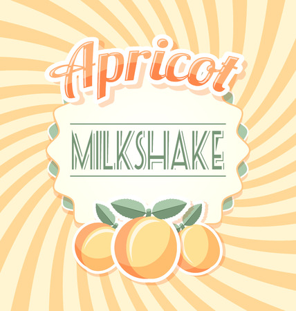 rind: Apricot milkshake label in retro style on twisted background