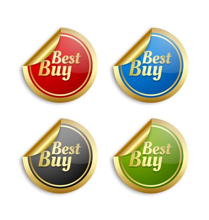 seal: Set of golden colorful best buy stickers for custom design purposes