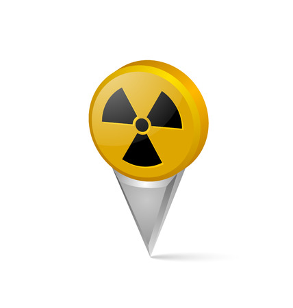 Three dimensional nuclear symbol pointer isolated on white background Illustration