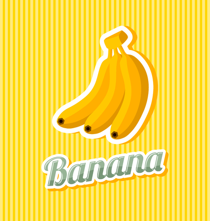 Retro banana with title on striped background
