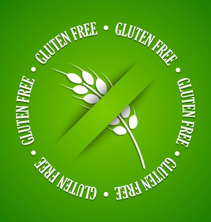 gluten: White gluten free sign on green background Illustration