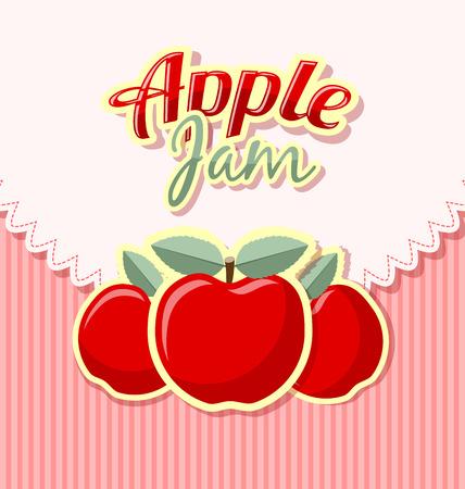 mermelada: Etiqueta de mermelada de manzana retro con el título en el fondo de rayas