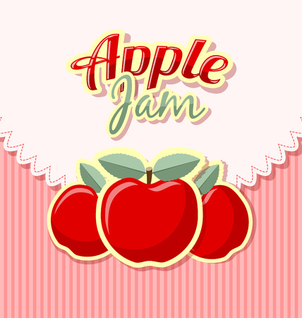 rinds: Retro apple jam label with title on striped background Illustration