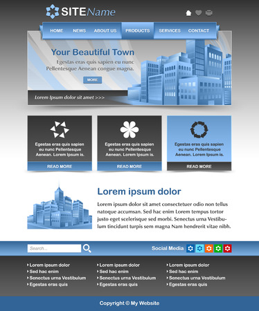 icons site search: Easy customizable blue and dark grey website template layout