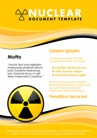 radium: Nuclear yellow and black document template with radiation sign