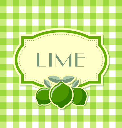 plaque: Lime label in retro style on squared background