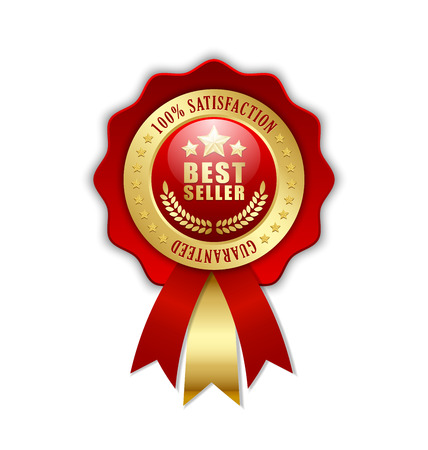 Best seller rosette placed on white background