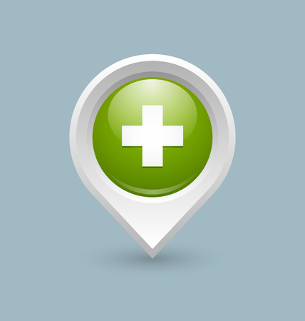 Medical or pharmacy cross map pointer on pale background Çizim