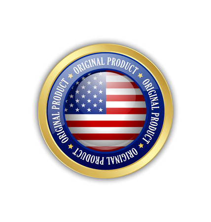 Golden original product from U.S.A. symbol on white background