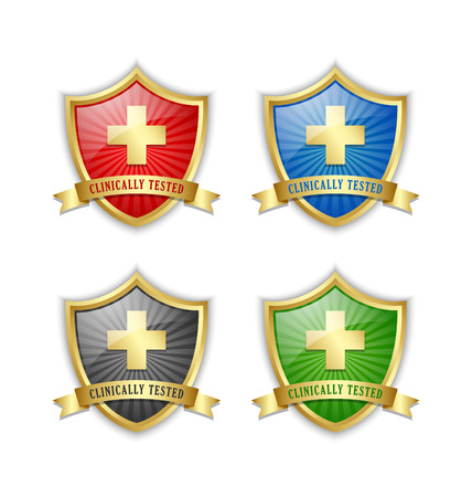 clinically: Golden clinically tested symbol shields with cross and ribbon on white background