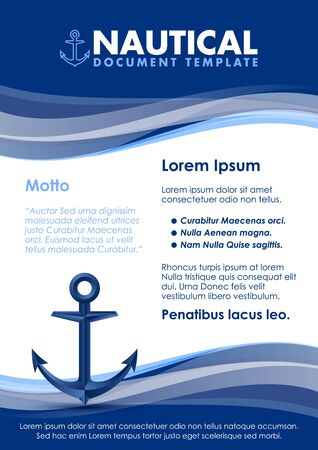 Nautical document template with ship anchor icon