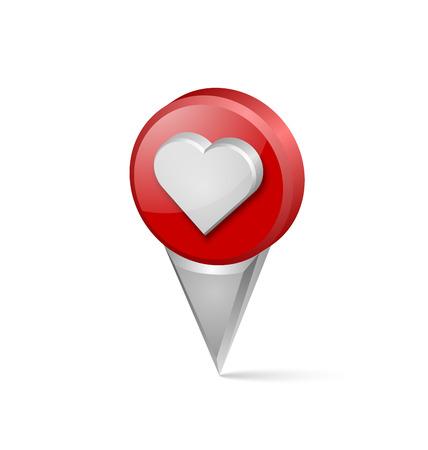 position d amour: Trois dimensions de la carte coeur pointeur sur fond blanc