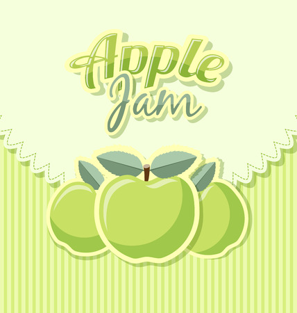 rind: Retro apple jam label with title on striped background Illustration
