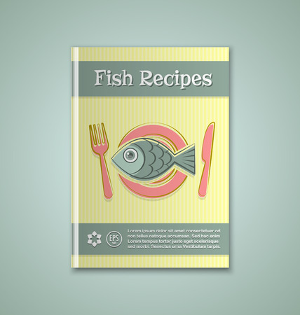 herring: Brochure or book cover template on greenish background