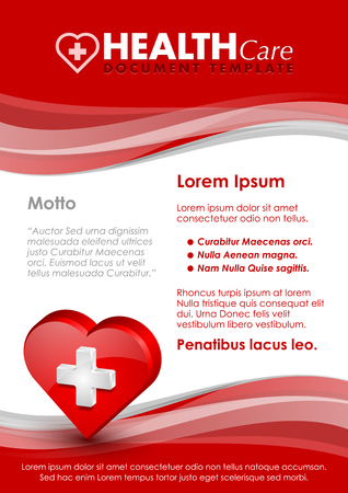 Health care document template with three dimensional glossy heart icon Çizim