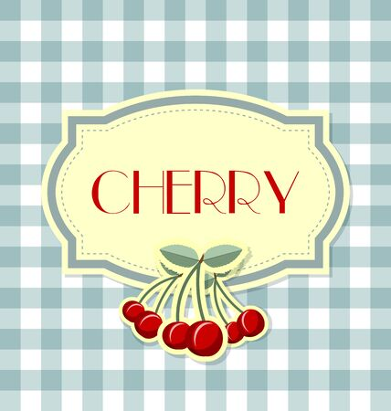 rind: Cherry label in retro style on squared background