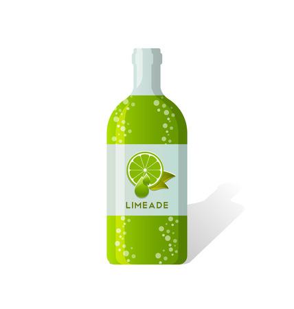 depicted: Limeade bottle with fresh juicy lime depicted on label Illustration