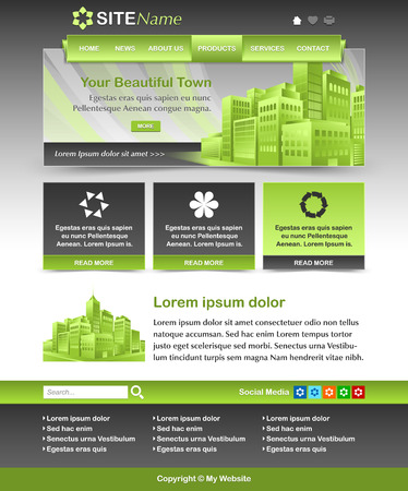 website template: Easy customizable green and dark grey website template layout Illustration