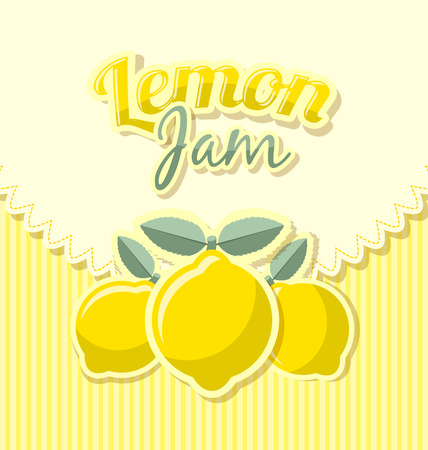 Lemon jam label in retro style on striped background Illustration