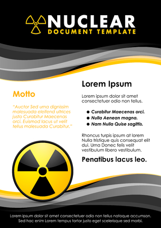 Nuclear black and yellow document template with radiation sign Illustration