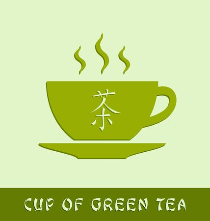 theine: Cup of green tea on pale background