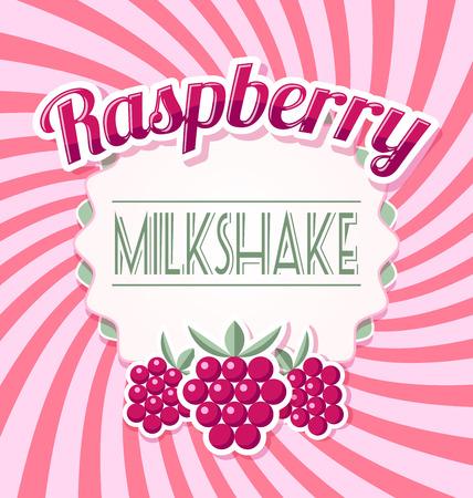 raspberry pink: Raspberry milkshake label in retro style on twisted pink background Illustration