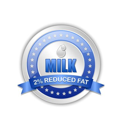 reduced: Reduced fat milk icon or badge with ribbon on white background