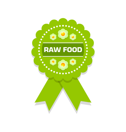 raw: Green raw food rosette on white background