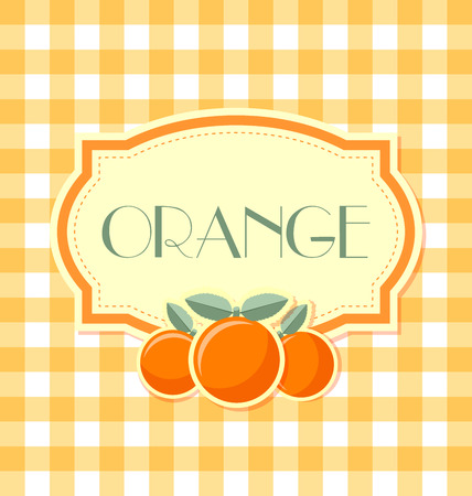 zest: Orange label in retro style on squared background
