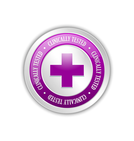 clinically: Silver clinically tested symbol with cross on white background