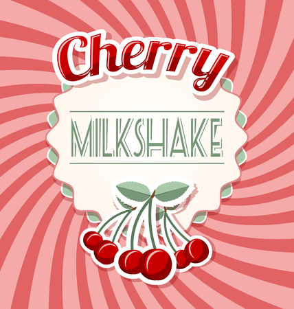 twisted: Cherry milkshake label in retro style on twisted background Illustration