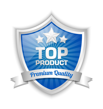 blue banner: Top product shield placed on white background Illustration