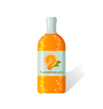 drinkable: Tangerineade bottle with fresh juicy tangerine depicted on label Illustration