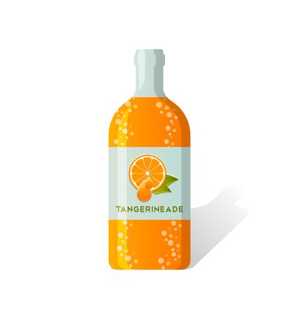drinkable: Tangerineade bottle with fresh juicy tangerine depicted on label Illustration