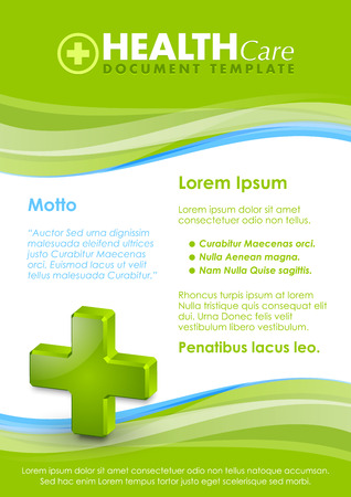 color background: Health care document template with three dimensional glossy cross icon