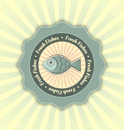 Fresh fishes badge in retro style with rays on the background