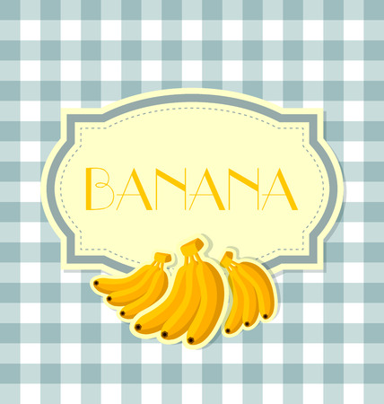 rinds: Banana label in retro style on squared background