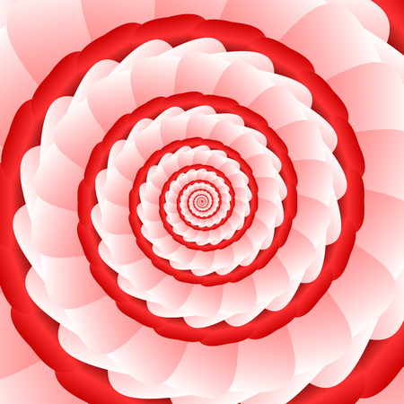 ribbed: Twisted and ribbed spiral in vivid red color shades on background Illustration