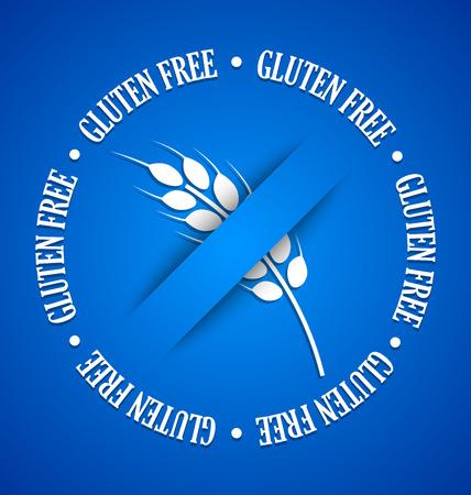 starch: White gluten free sign on blue background Illustration