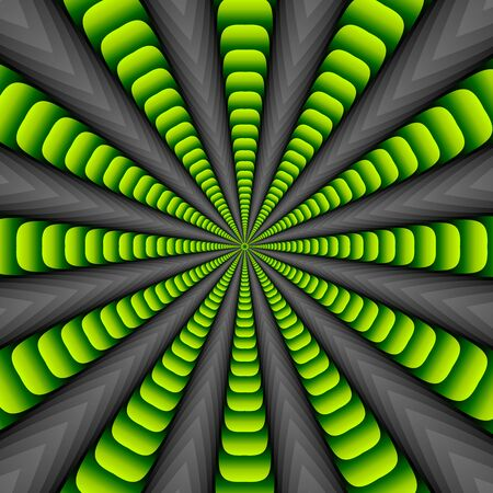 Green twisted and ribbed abstract flower background