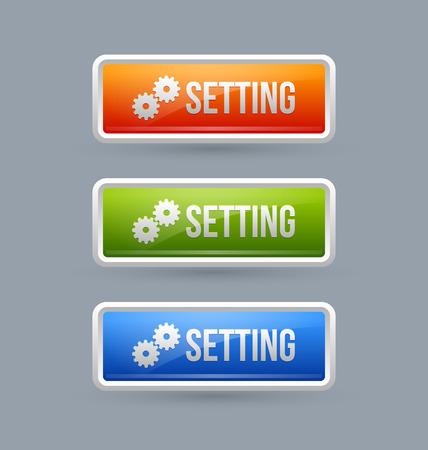 upkeep: Glossy setting buttons isolated on grey background Illustration