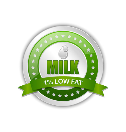 Low fat milk icon or badge with ribbon on white background 向量圖像