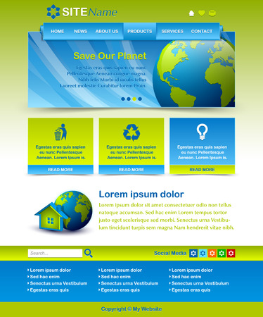 customizable: Easy customizable blue and green website template layout Illustration