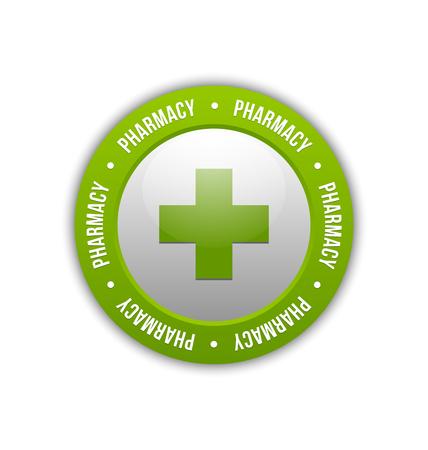 Medical or pharmacy cross badge on white background