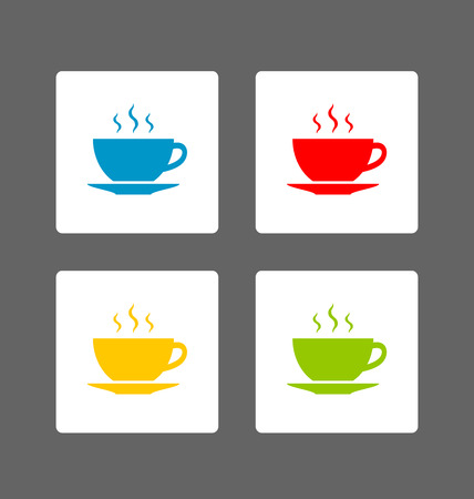 mug: Colorful cup of tea or coffee icons on dark grey background
