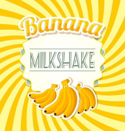 Banana milkshake label in retro style on twisted background
