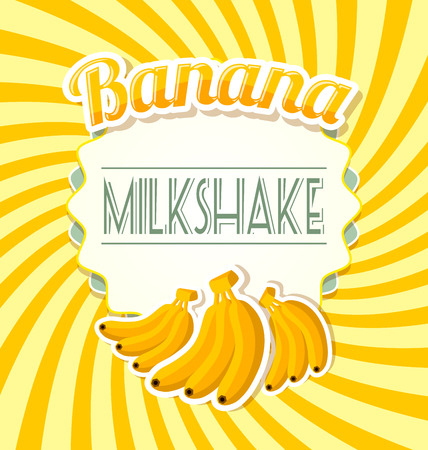 platano maduro: Etiqueta batido de plátano en estilo retro en el fondo trenzado